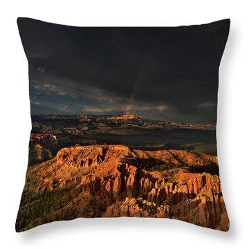 Rainbow And Thunderstorm Over The Paunsaugunt Plateau  Throw Pillow