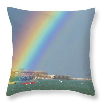Rainbow At Spring Point Ledge Throw Pillow