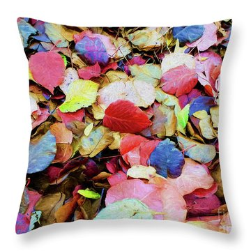 Throw Pillow featuring the photograph Rainbow Autumn Leaves Painterly by Andee Design
