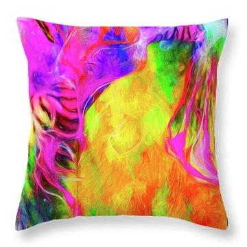 Rainbow Blossom Throw Pillow