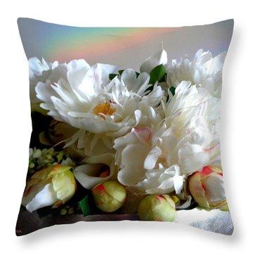 Rainbow Buds N' Blooms Three Throw Pillow