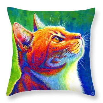 Rainbow Cat Portrait Throw Pillow