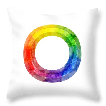 Throw Pillow featuring the painting Rainbow Color Wheel by Lauren Heller