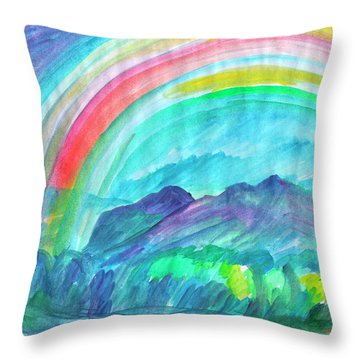 Throw Pillow featuring the painting Rainbow by Dobrotsvet Art
