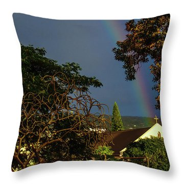 Rainbow Ended At The Church Throw Pillow