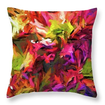 Rainbow Flower Rhapsody In Pink And Purple Throw Pillow