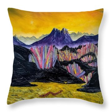 Throw Pillow featuring the painting Rainbow Fries And Centipedes Somewhere In The Multiverse by Kevin Daly