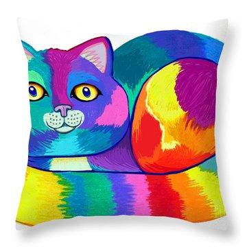 Rainbow Spectrum Cat Throw Pillow