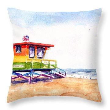 Rainbow Lifeguard Tower Throw Pillow
