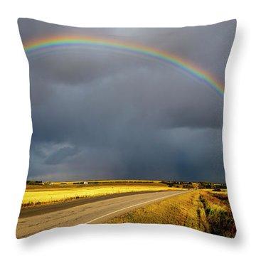Rainbow Over Crop Land Throw Pillow