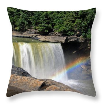 Throw Pillow featuring the photograph Rainbow Over Cumberland Falls by Angela Murdock