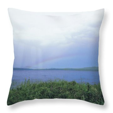 Rainbow Over Raquette Lake Throw Pillow