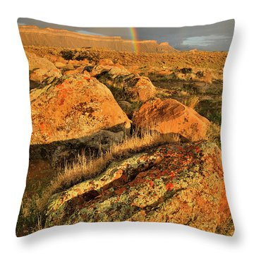 Rainbow Over The Book Cliffs Throw Pillow