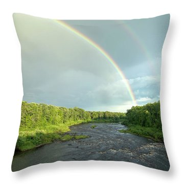 Rainbow Over The Littlefork River Throw Pillow