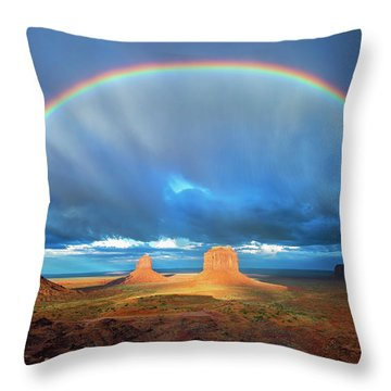 Rainbow Over The Mittens Afternoon Throw Pillow