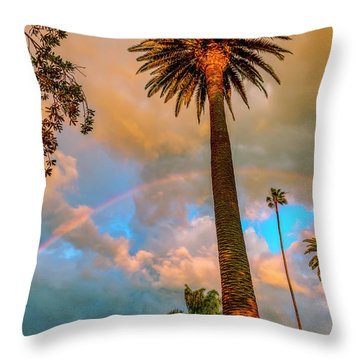 Rainbow Over The Palms Throw Pillow