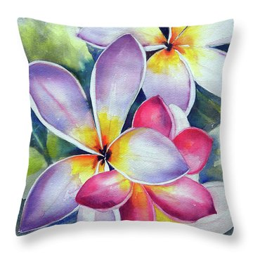 Rainbow Plumerias Throw Pillow
