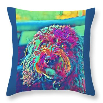Throw Pillow featuring the digital art Rainbow Pup by Cindy Greenstein