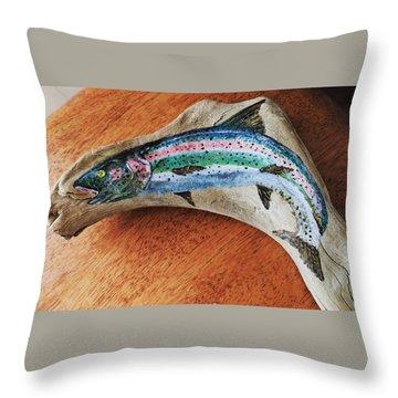 Rainbow Trout #1 Throw Pillow