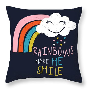 Rainbows Make Me Smile - Baby Room Nursery Art Poster Print Throw Pillow