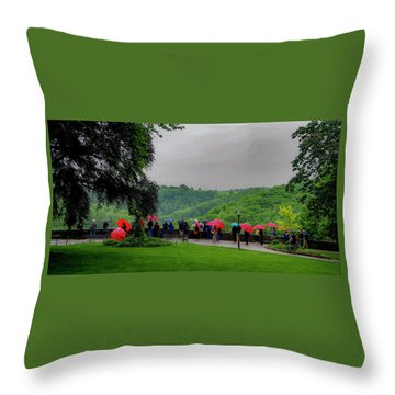 Throw Pillow featuring the photograph Rainy Day Umbrellas by Phyllis Spoor