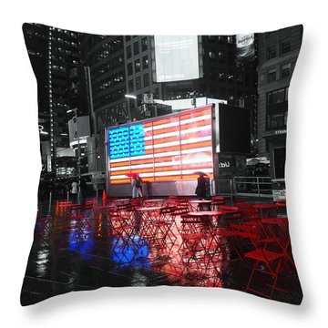 Rainy Days In Time Square  Throw Pillow