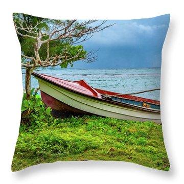 Rainy Fishing Day Throw Pillow