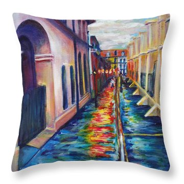 Rainy Pirate Alley Throw Pillow