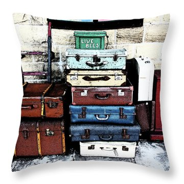 Ramsbottom.  Elr Railway Suitcases On The Platform. Throw Pillow