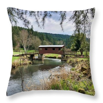 Ranch Hills Covered Bridge Throw Pillow