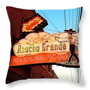 Rancho Grande - Route 66 Neon Throw Pillow