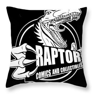 Raptor Comics Black Throw Pillow