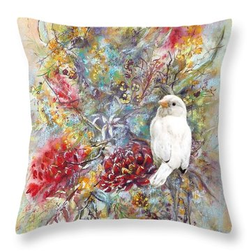 Rare White Sparrow - Portrait View. Throw Pillow