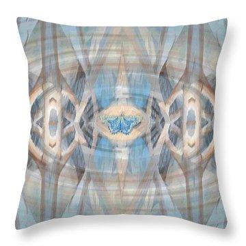 Rattan Blue Throw Pillow