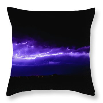 Rays In A Night Storm With Light And Clouds. Throw Pillow