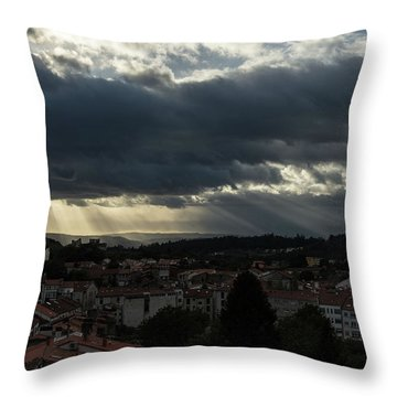 Throw Pillow featuring the photograph Rays Over Santiago by Alex Lapidus