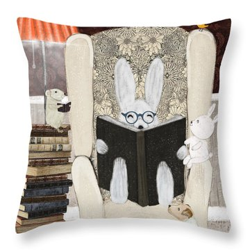 Reading Time Throw Pillow by Bri Buckley