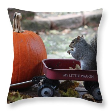 Ready To Ride My Little Red Wagon Throw Pillow