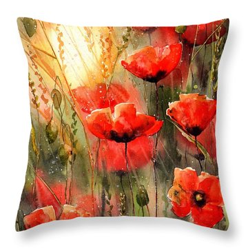Real Red Poppies Throw Pillow