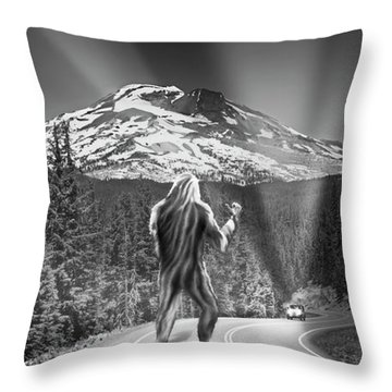 Rear View Of A Sasquatch Hitchhiking Throw Pillow