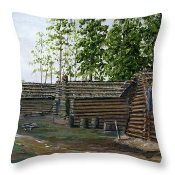 Rebel Huts, Port Hudson, Louisiana 1863 Throw Pillow