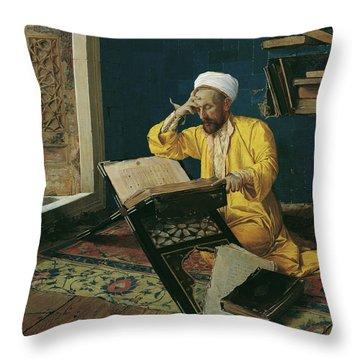 Reciting The Quran, 1902 Throw Pillow