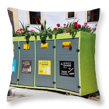 Recycling Bins On Halki Island Throw Pillow