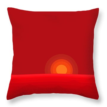 Red Abstract Sunset II Throw Pillow