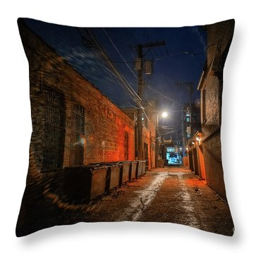 Red Alley Throw Pillow