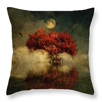 Throw Pillow featuring the digital art Red American Oak In A Dream by Jan Keteleer