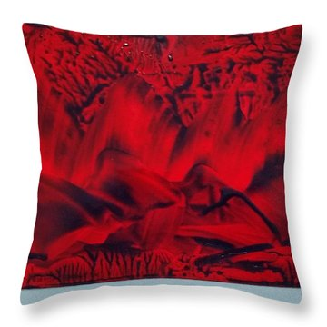 Red And Black Encaustic Abstract Throw Pillow