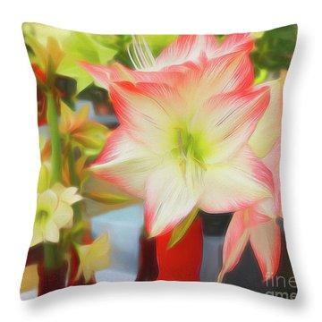 Red And White Amaryllis Throw Pillow