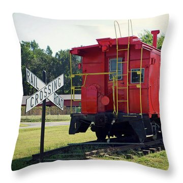 Throw Pillow featuring the photograph Red And Yellow Caboose At Nassawadox by Bill Swartwout Fine Art Photography