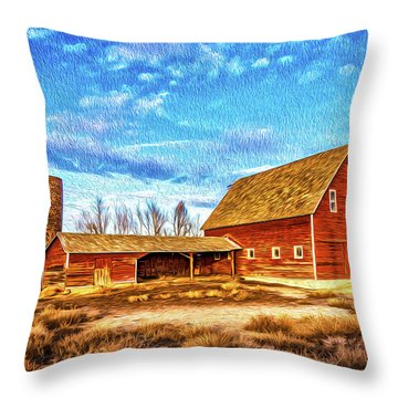 Red Barn And Brick Silo Throw Pillow